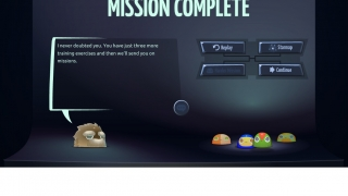 The game pauses in between missions in case players want to quit, skip around, or move on.