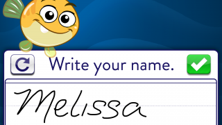 Add your name to a finished drawing.