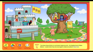 Kids can create drawings, tell a story, or interact with the puppets and other characters in the Neighborhood of Make Believe.