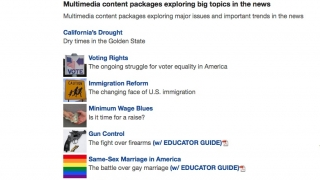 Teachers can find multimedia resources on a wide range of current issues.