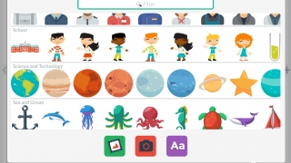 Choose from a large variety of stickers or photos from the camera or camera roll.