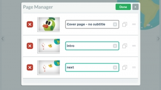 Easily add, delete, or copy pages, and rearrange their order in the page manager.