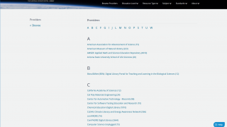 Browse an alphabetical list of providers who have created the resources.