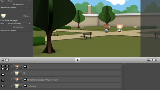 Type dialogue and add facial expressions, movements, sounds, and more.