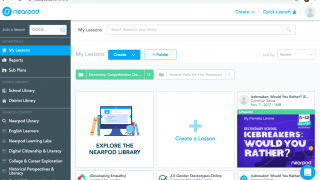 Create and manage lessons, view student reports, and browse content from the dashboard.
