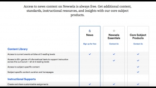 Teachers can create free Newsela News accounts; paid subscriptions can access Newsela Essentials, Core Subject materials, and more features.