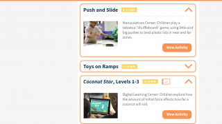 Teachers can view basic descriptions of each activity.