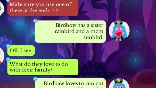 Prewriting is scaffolded step-by-step through a kid-friendly text exchange.