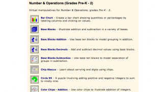 Each content area and grade level has anywhere between a handful to more than 40 virtual manipulatives.