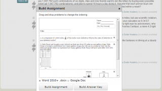 Once problems are selected, users can build a worksheet and answer key as a Word or Google doc.