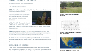 The site also includes ACE (Alliance for Climate Education) reports.