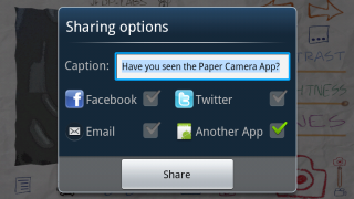 New photos can be shared to Facebook, Twitter, Google Drive, or sent via email with account access.