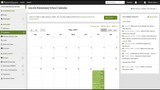 The calendar offers users an at-a-glance snapshot of class and school happenings.