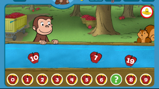 Number game in which kids pick the correct apple to fill in the missing number