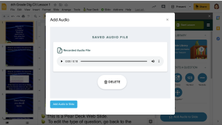 Teachers can add audio to slides, helpful for students who have impaired vision or need reading support.
