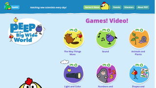 The homepage highlights games and videos for pre-K students