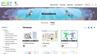 The site has over 150 simulations currently available (and each clearly lists what it uses to run).