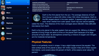 Information about the planets is well organized.
