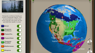 Kids can use the interactive map to find different forest biomes.