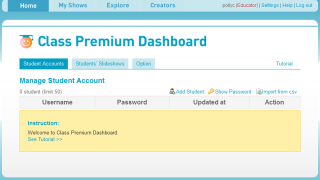 Manage student accounts from a teacher dashboard.