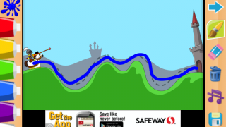 Tracing activity asks kids to follow the dashed line to the castle.