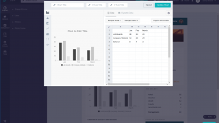 Behind-the-scenes spreadsheets make it easy to create and customize graph elements.