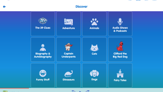 The Discover page presents a variety of topics and genres for browsing.