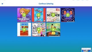 Titles in progress are saved to user accounts for continued listening.