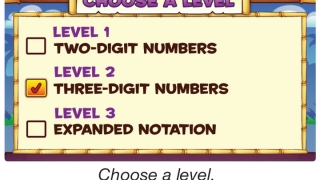 Players choose from two-digit, three-digit, and expanded notation levels.