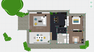 The top-down 2D view is easiest for creating and editing designs.