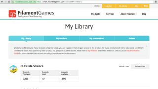 "Logging in takes you to ""My Library;"" scroll down to find purchased games, coordinating curriculum, and guides."