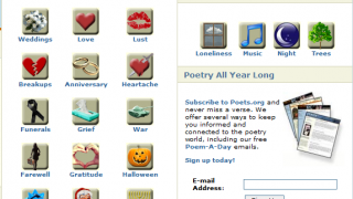 You can search poems a few different ways on the site.