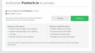 Connect postach.io with your Evernote account to get started.