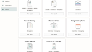 The teacher dashboard has many reports available for the students.