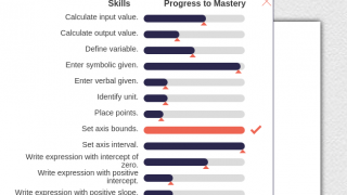 The responsive progress bar provides detailed feedback on student learning.