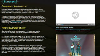 The Quandary website has a useful collection of teaching resources as well as a teacher dashboard.