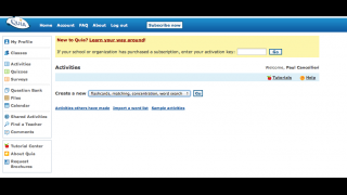 Teachers can choose items from Quia's question bank or enter their own.