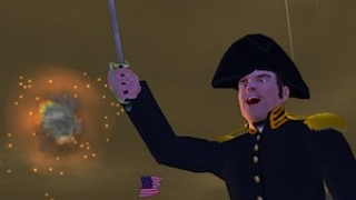 """The game shows kids what inspired """"The Star-Spangled Banner,"""" such as this rocket's red glare."""