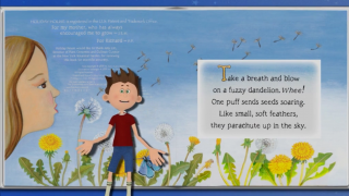 Kids can watch tutorials, such as this dandelion video, that teach them how to use the app.