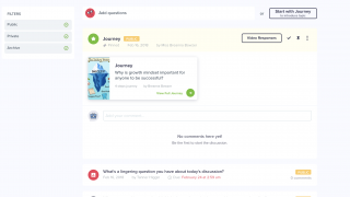 Example class queue with a Journey, video response, and text question