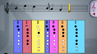 Each song includes musical notation, the names of the notes, and proper hand position.