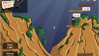 In Ninja to the Stars, students solve math facts to guide their ninja ever higher.