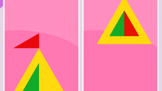 To solve the puzzle in Match It, make both sides of the split-screen identical.
