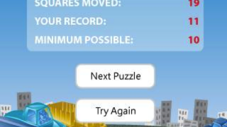 Kids can replay a level to work at getting the car out in the fewest possible moves.