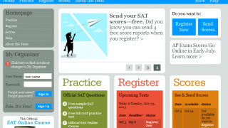 Colorful, clean home page puts students at ease.