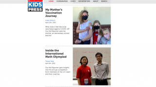 The homepage of Scholastic Kids Press presents news stories by kids, for kids.