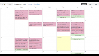 The calendar view displays assignments and events for all courses in one place.