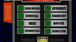 The home page for Science Bob presents menu items such as science fair ideas.