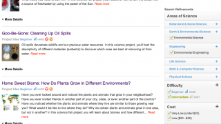 Easy-to-use filters allow for searches based on topic, difficulty, cost, time-involved, and materials.