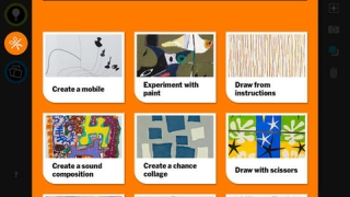 Activities reference artists like Alexander Calder, Elizabeth Murray, and Sol LeWitt to encourage kids to make art in a similar style.